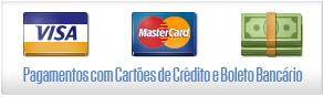 Aceitamos cartões e boleto bancário